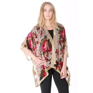 Semi Sheer Mesh Open Front Burnout Floral Print Velvet Kimono