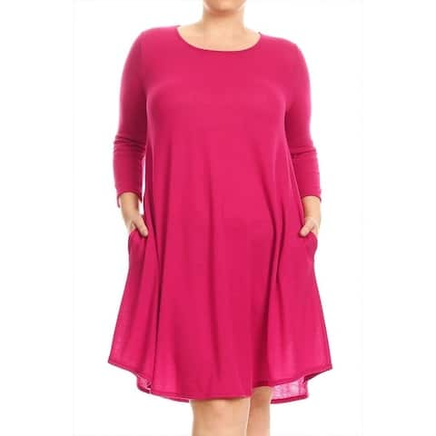 Women's Plus Size Solid Knit Dress with Pockets