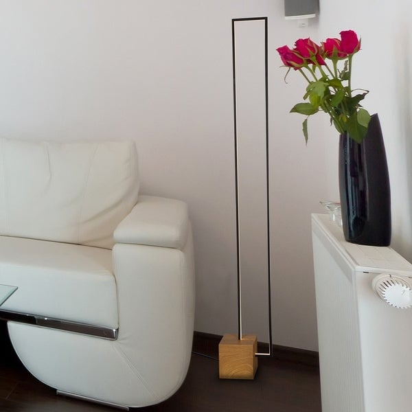 """VONN Lighting Silva VSSF5109BL 60"""" LED Floor Lamp in Plated Black Wood"""