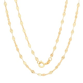 Yellow Gold Electroplated Brass Italian 2.5 mm Star Mirror Chain (16-24 Inch)