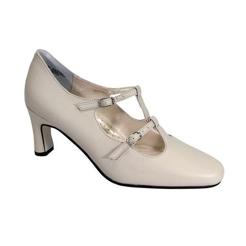 PEERAGE Helena Women Extra Wide Width Leather Double Buckles Pumps