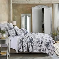 Classic Toile Black Cotton Quilt Set