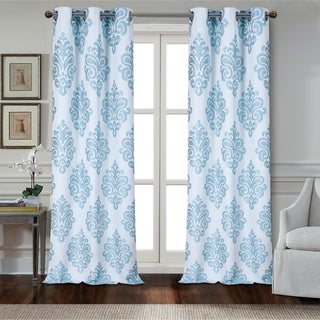 Dainty Home Marquise Textured Appliqué Grommet Window Curtain Panel Pair