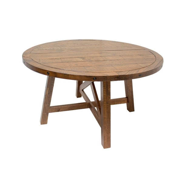 Best Master Furniture Round Honey Walnut Dining Table