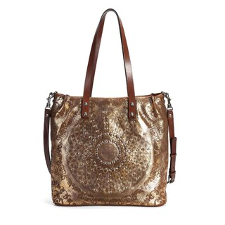 Old Trend Stars Align Genuine Leather Tote Bag (Option: Gold - Leather - Zipper)