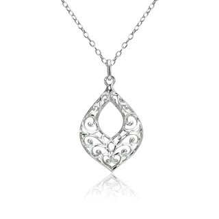 Mondevio Diamond-cut Filigree Open Teardrop Necklace in Two-Tone Sterling Silver