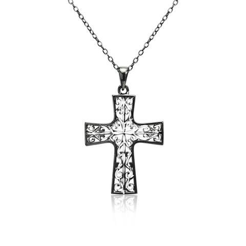 Mondevio Diamond-cut Filigree Cross Pendant Necklace in Two-Tone Sterling Silver