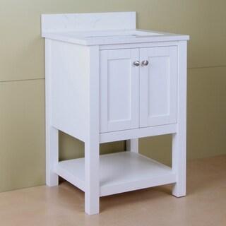 """Home Elements L-Series VLq24201WT 24"""" Quartz Top Cream White Vanity"""