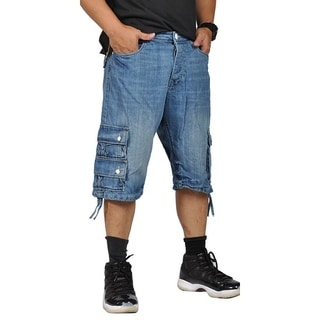 Worior Mens Casual Design Cargo Shorts Denim Blue