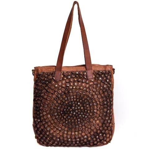 Old Trend Stellar Stud Genuine Leather Tote Bag