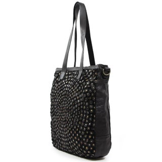 Old Trend Stellar Stud Tote Bag (Option: Black - Leather - Zipper)