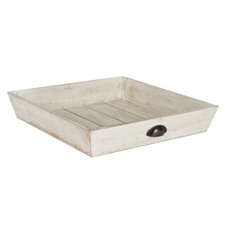 Kate and Laurel Woodmont Distressed Wood Square Ottoman Tray (2 options available)