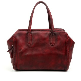 Old Trend Spring Meadow Leather Satchel Handbag (Option: Red - Leather - Zipper)