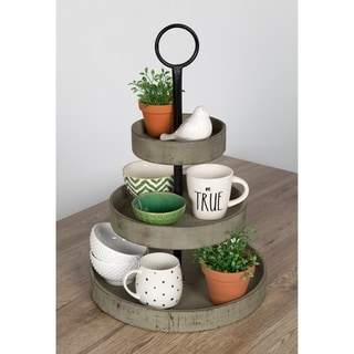 Link to Kate and Laurel Woodmont 3 Tiered Wood Tray Similar Items in Outdoor Decor
