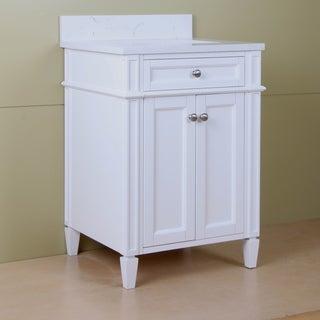 """Home Elements S-Series VSq24211WT 24"""" Quartz Top Cream White Vanity"""
