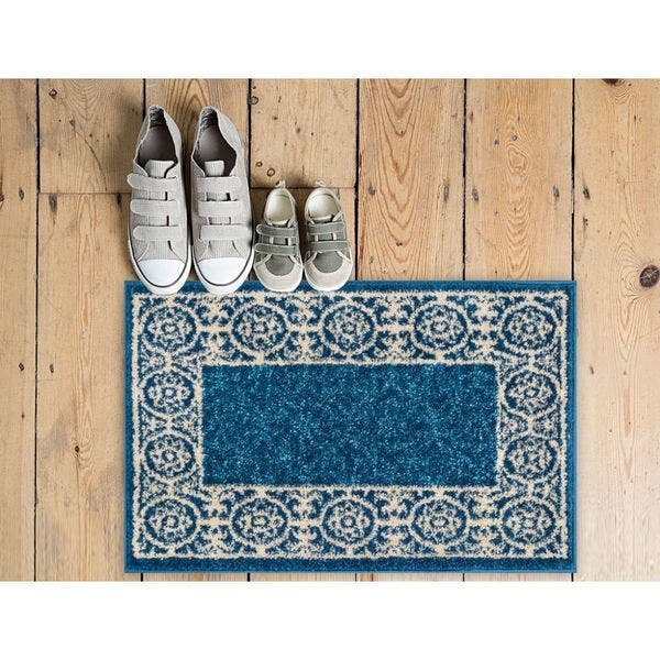Well Woven Melbourne Modern Solid Blue Mat Accent Rug