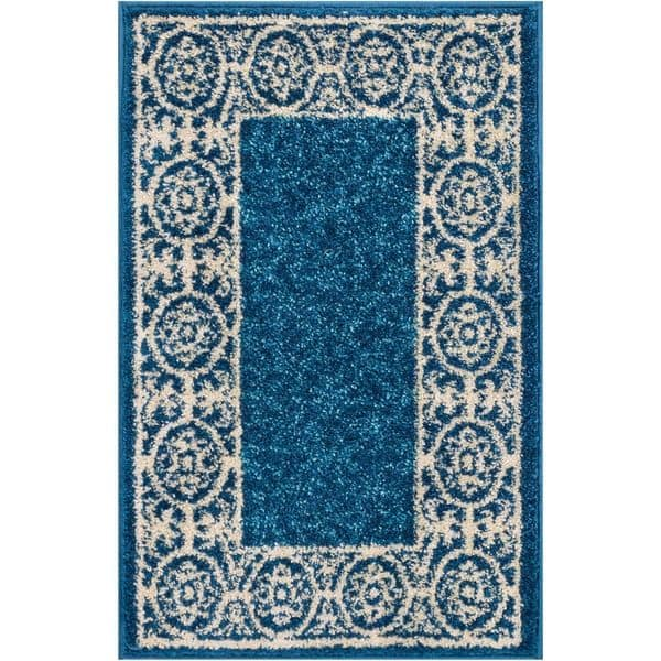 Modern Solid Blue Mat Accent Rug