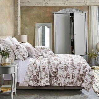 Classic Toile Taupe Cotton Quilt Set