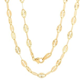 Yellow Gold Electroplated Brass Italian 5.5 mm Star Mirror Chain (16-24 Inch)