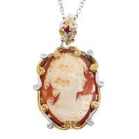 Michael Valitutti Palladium Silver Oval Lady Cameo & Orange Sapphire Pendant