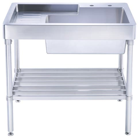Whitehaus Collection Utility Sink with Drainboard and Lower Rack