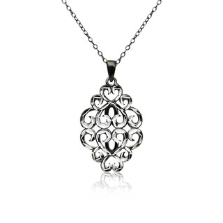 Mondevio Diamond-cut Filigree Swirl Hearts Necklace in Two-Tone Sterling Silver (Option: Black)