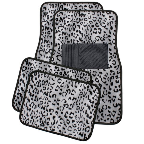 OxGord Universal Fit Front/Back Seat Leopard Carpet Mat - (Gray)