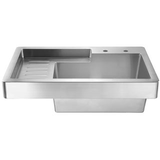 Whitehaus Collection Single Bowl Drop in Utility Sink with Drainboard