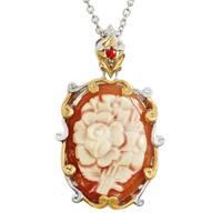 Michael Valitutti Palladium Silver Oval Flower Cameo & Orange Sapphire Pendant