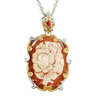 Michael Valitutti Palladium Silver Oval Flower Cameo & Orange Sapphire Pendant