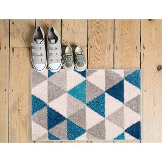 Well Woven Melbourne Modern Abstract Blue Grey Mat Accent Rug - 2' x 3'