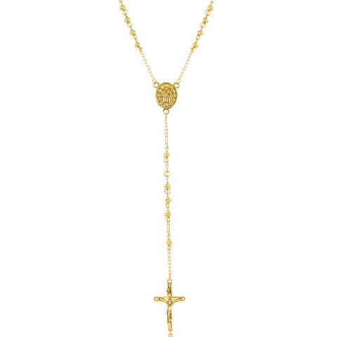 La Preciosa Stainless Steel Gold Plated 4mm, 6mm or 8mm Bead Rosary Necklace