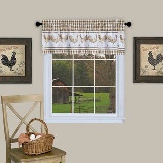 Barnyard Buffalo Check Rooster Window Valance (Taupe)
