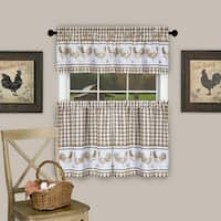 "3 Piece Barnyard Buffalo Check Rooster Tier and Valance Curtain Set- 24"" Taupe - 24 inch"