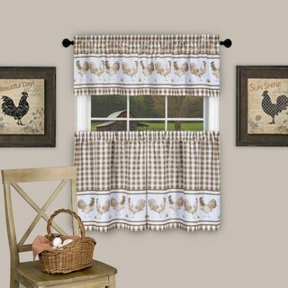 """3 Piece Barnyard Buffalo Check Rooster Tier and Valance Curtain Set- 24"""" Taupe"""