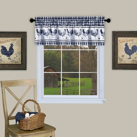 Barnyard Buffalo Check Rooster Window Valance (Navy)