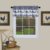 Barnyard Buffalo Check Rooster Window Valance (Navy)