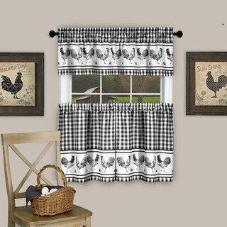 """3 Piece Barnyard Buffalo Check Rooster Tier and Valance Curtain Set- 24"""" Black"""