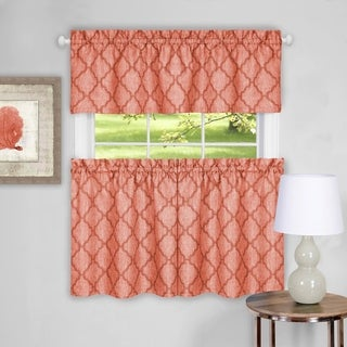 "Trellis Pattern Tier and Valance Curtain Set- 36"" Orange - 36 inch"