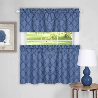 "Trellis Pattern Tier and Valance Curtain Set- 36"" Blue - 36 inch"