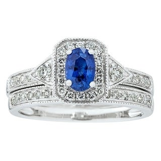 14K White Gold Blue sapphire and Diamond Ring by Anika And August