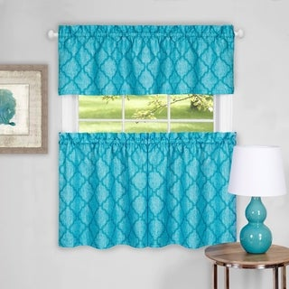 "Trellis Pattern Tier and Valance Curtain Set- 36"" Turquoise"