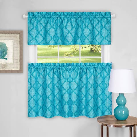"""Trellis Pattern Tier and Valance Curtain Set- 36"""" Turquoise - 36 inch"""