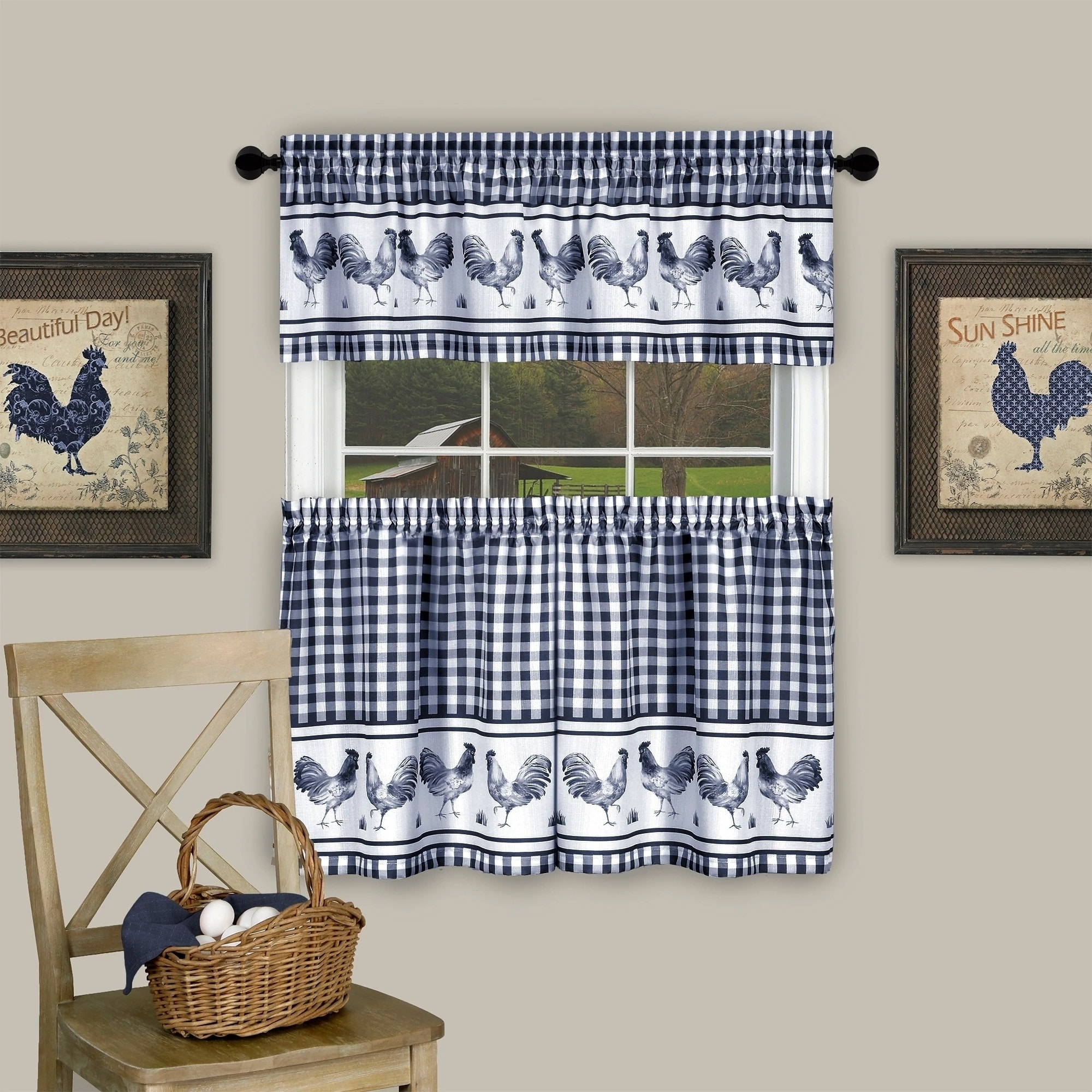 3 Piece Barnyard Buffalo Check Rooster Tier And Valance Curtain Set 24 Navy 24 Inch Overstock 19526582