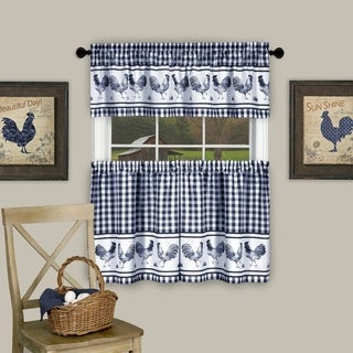"""3 Piece Barnyard Buffalo Check Rooster Tier and Valance Curtain Set- 24"""" Navy"""