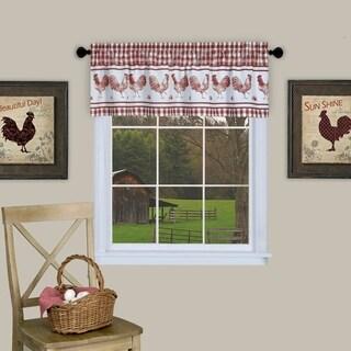 Barnyard Buffalo Check Rooster Window Valance (Burgundy)