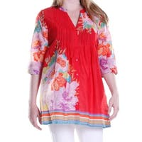 La Cera Women's 3/4 Sleeve Printed Tunic Top