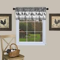 Barnyard Buffalo Check Rooster Window Valance (Black)
