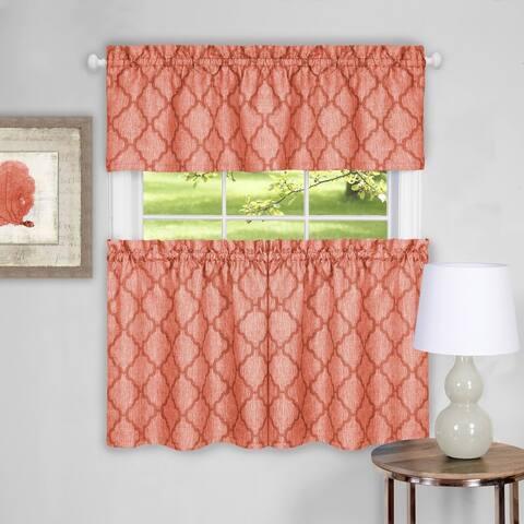 "Trellis Pattern Tier and Valance Curtain Set- 24"" Orange - 24 inch"