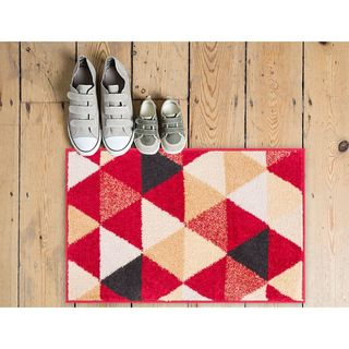 Well Woven Melbourne Modern Abstract Red Beige Accent Mat Accent Rug - 2' x 3'